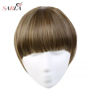 SARLA 1 Pcs Straight Clip In Neat Front Hair Bang Extension Heat Resistant  14 Colors Availables Synthetic Hairpieces B3