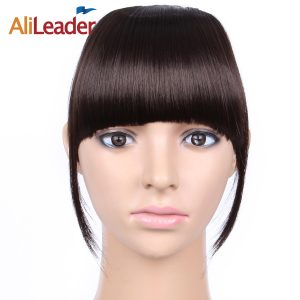 AliLeader Short Striaght Neat Bangs Clip In Synthetic Hair Extensions Front False Fringe Hair Piece Black Brown Blonde