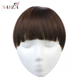 SARLA 1PC Clip In Blunt Bangs Extension Heat Resist Synthetic High Temperature Fiber Fringe 17 colors Availables B7