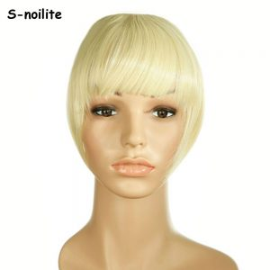 S-noilite short Striaght bangs Clip on Clip in Front Neat Bang Fringe clip in Hair Extensions Real Synthetic One piece
