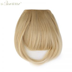 SNOILITE Women Synthetic Clip In Bangs Fringe Hair Extensions Front on Brown Black Blonde One piece only