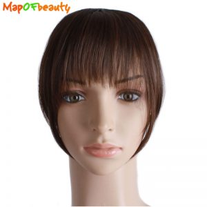 MapofBeauty Natural Blunt Bangs 1 Piece Clip-In Dark Light Brown Black Synthetic False Hair Fringe Pure 3 Colors 15cm 6 Inches