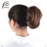 jeedou Synthetic Hair Chignon Black Brown Blond Mix Color 60g Curly Hair Bun Pad Rubber Band Chignon Hairpieces