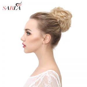 SARLA 1PC Curly Clip In Hair Buns Bride Big Ring Donut Heat Resistant High Temperature Synthetic Chignon Extensions Q7