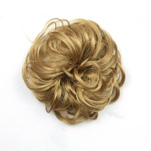 Soloowigs Curly Heat Resistant Synthetic Hair pieces 12 Colors Women Chignon with Rubber Band