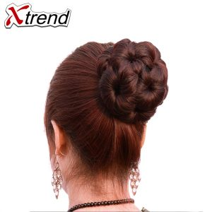 Xtrend Synthetic Natural Curly Chignon Clip In Plastic Comb Elastic Bride Bun Hairpieces For Women 65g 5Colors Black Fake Hair