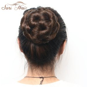 Suri Hair Women Chignon Hair Bun Donut Clip In Hairpiece Extensions Black/Brown Synthetic High Temperature Fiber Chignon