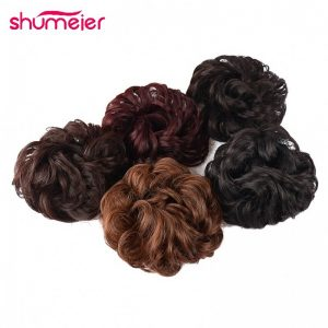 Shumeier 9Colors Ladies Black/Blond Heat Resistant Synthetic Hair Elastic Chignon Hairpiece Curly Bun