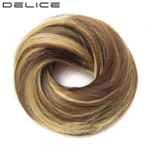 DELICE Girls Brown Blonde Rubber Band Scrunchie Wrap Hair Ring High Temperature Fiber Synthetic Straight Hair Pieces