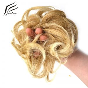 1 pieces jeedou Heat Resistant Synthetic Hair Elastic Chignon Hairpiece Curly Bun Mix Gray Blond Natural Chignon Hair Extension