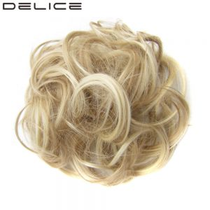 [DELICE] Women's Curly Chignon With Rubber Band Heat Resistance Synthetic Scrunchie Wrap Hair Ring