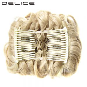 DELICE Women's Elastic Net Curly Chignon With Two Plastic Combs Updo Cover Synthetic Hair Bun 100g/pc