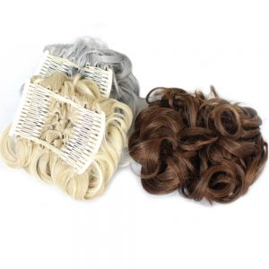 Shumeier 16Colors Short Curly Synthetic Hair Big Bun Chignon Black Brown Two Plastic Comb Clips in Hair Extension Hairpiece