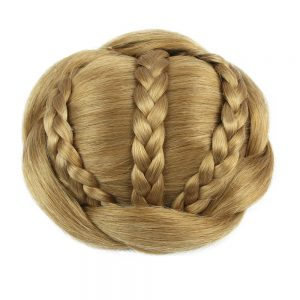 Soloowigs High Temperature Fiber Synthetic Hair Pieces Women Buns Black/Light Brown/Blonde Clip-in Braided Chignons