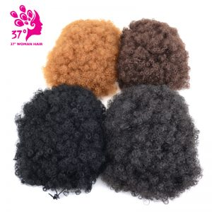 Dream ice's Rubber Band Curly Big Chignon 7 inch 100g Clip-In Natural Color High Temperature Fiber Chignon Hairpiece