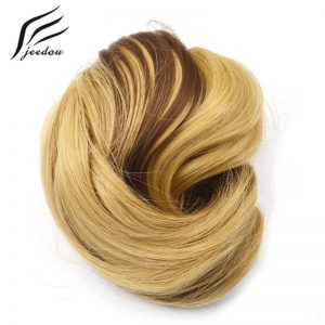 1 Pieces jeedou Q6 Synthetic Hair Chignon Black Brown Blond Mix Color 60g Curly Hair Bun Pad Rubber Band Chignon Hairpieces