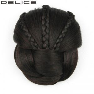 [DELICE] Diameter 11cm Women's Braided Clip In Synthetic Hair Chignon, 70g/piece