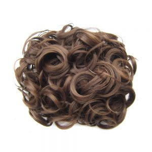 DELICE Medium Brown Elastic Net With Combs Curly Chignon Updo Cover Heat Resistance Synthetic Hair For Women 100g/piece
