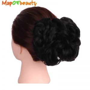 MapofBeauty Women's short Curly Hairpiece Synthetic Hair Big Bun Chignon Black Brown Two Plastic Comb Clips in Hair Extension