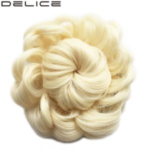 [DELICE] Color Blonde 613# Women's High Temperature Fiber Synthetic Drawstring Curly Hair Chignon, 50g/piece