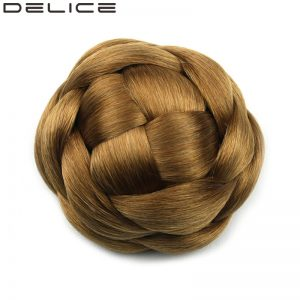 [delice] Clip In Women's High Temperature Fiber Synthetic Braided Hair Bun Chignon, Pure Color