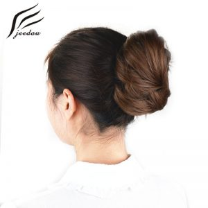 jeedou Synthetic Hair Donut Chignon Hair Extensions Black Brown 25Colors 30g Hair Bun Pad Rubber Band Chignon Hairpieces