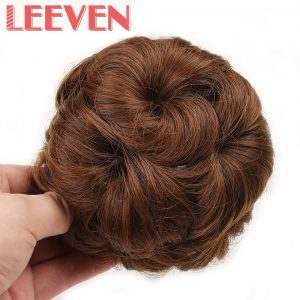 Leeven Women Curly Chignon Clip in Elastic Fake Synthetic Hair Bun Updo Hairpiece Extension Accessories High Temperature Fiber