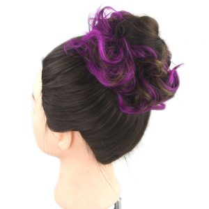 Soowee 30 Colors Synthetic Hair Hairband Purple Black Scrunchie Hair Bun Chignon High Temperature Fiber Hair Roller Headband