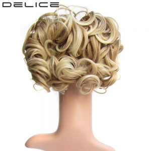 DELICE Short Curly Synthetic Blonde Burg Big Bun Chignon Hair Extension With Two Plastic Combs Clip in Hairpiece