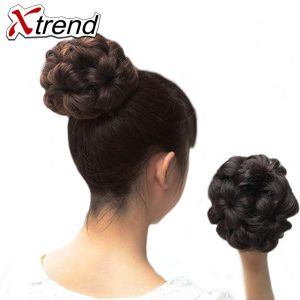 Xtrend 5colors Synthetic Kanekalon Curly Chignon Clip in Elastic Fake Hair Bun 9 Flowers Roller Hairpiece Accessories 2PCS/Lot