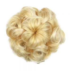 Soloowigs Curly Heat Resistant Fiber Women Rubber Band Black/Blonde/Brown Chignon Synthetic Hair Buns for Brides 8 Colors