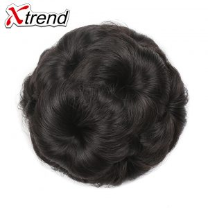 Xtrend 3PCS Women Natural Curly Chignon Clip in Elastic Fake Hair Bun Updo Hairpiece Accessories 9Flowers High Temperature Fiber