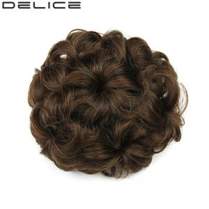 [DELICE] Diameter 12cm Drawstring Floral Women's Curly Synthetic Hair Chignon, Pure Color Blonde
