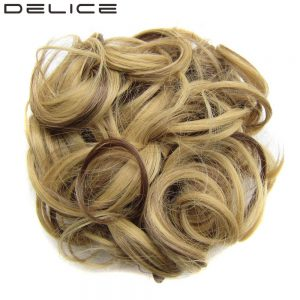 DELICE Women's Curly Chignon Elastic Rubber Band Clip In High Temperature Fiber Synthetic Hair Bun