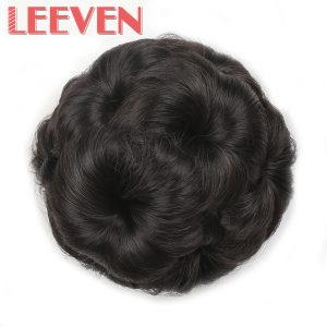 Leeven 9 hair flowers claw curly chignon bride hair bun accessories on ponytail hair piece synthetic fiber Clip in Elastic Fake