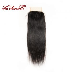 ALI ANNABELLE HAIR Brazilian Straight Lace Closure Natural Color 4*4 Medium Brown 100% Remy Hair Closure Free Part 10 to 22 inch