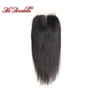 ALI ANNABELLE HAIR Brazilian Straight Lace Closure Middle Part Natural Color 4*4 Brazilian Remy Hair Closure 10 to 22""