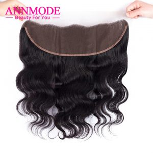 Annmode Peruvian Body Wave A Pcs Lace Frontal Closure 13*4 Free Part Free Shipping 100% Non-Remy Human Hair Can Match 3 bundles