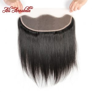 ALI ANNABELLE HAIR Brazilian Straight Hair Lace Frontal Closure 13x4 Swiss Lace Ear To Ear Remy Human Hair Closure Free Shipping