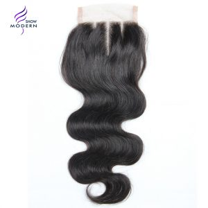 Modern Show Body Wave Closure Swiss Lace Three Part Remy Human Hair Weave Closure 130% Density 1 Piece 10-20 Inch Natrual Color