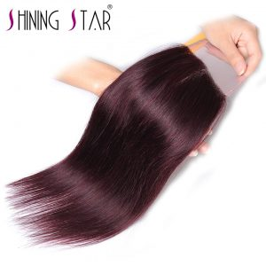 Burgundy Closure  4*4 Free Part Swiss Lace Brazilian Human Hair Straight Weave Red 1Pc 10''-18'' Inch Shining Star Non Remy Hair