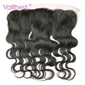 Vallbest Body Wave With Lace Frontal Closure 100% Human Hair Non Remy Hair Weave With Baby Hair Free Part Natural Black Color 1B
