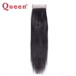 Queen Hair Peruvian Straight Remy Human Hair Weave Bundles Free Part Lace Closure With Baby Hair Mix 3 or 4 Bundles Full Head
