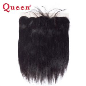 Queen Hair Products Peruvian Straight Hair Weave Bundles 13x4 Lace Frontal Closure With Baby Hair 100% Remy Human Hair Closures