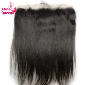 Atina Queen Straight 13x4 Ear to Ear Lace Frontal Closure with Baby Hair Pre Plucked Frontals Remy Human Hair Natural Hairline
