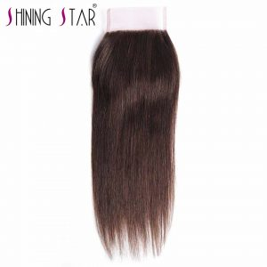 Light Brown Color 4 Peruvian Straight Hair Weave Free Part Lace Closure 120% Density Non-Remy Shining Star Human Hair Closures