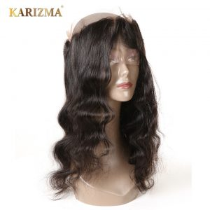Karizma Body Wave Pre Plucked 360 Lace Frontal Closure With Baby Hair 100% Remy Human Hair Weave Natural Black Color 10-18inch