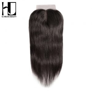 "[HJ WEAVE BEAUTY]Silk Base Closure Middle Part 4""x4"" Swiss Lace Brazilian Straight 100% Human Remy Hair With Baby Hair"