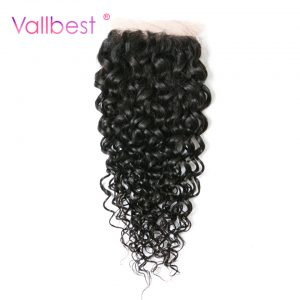 Water Wave Lace Closure 100% Human Hair Bundles 4X4 Weave Natural Black 1B 120% Density Free Part Vallbest Non Remy Lace Hair
