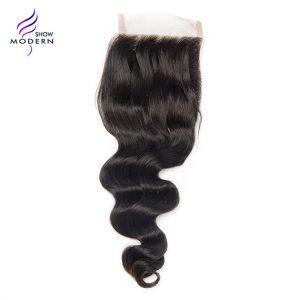 Modern Show Loose Wave Human Hair Lace Closure Free Part Lace Closure Remy Hair Weave 10-20 Inch Natural Black 1B Free Shipping
